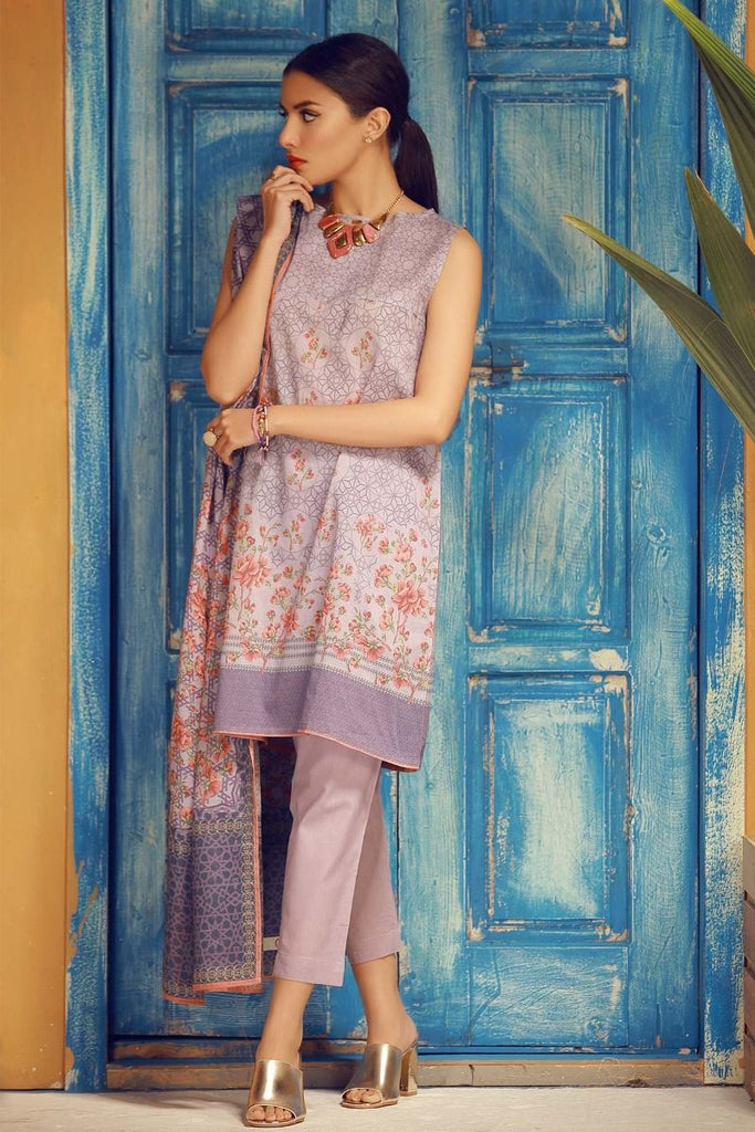 Khaadi Tropical Escape Lawn Collection 2018 – A18114 Purple 3Pc
