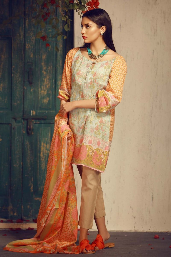 Khaadi Tropical Escape Lawn Collection 2018 – A18115 Orange 3Pc