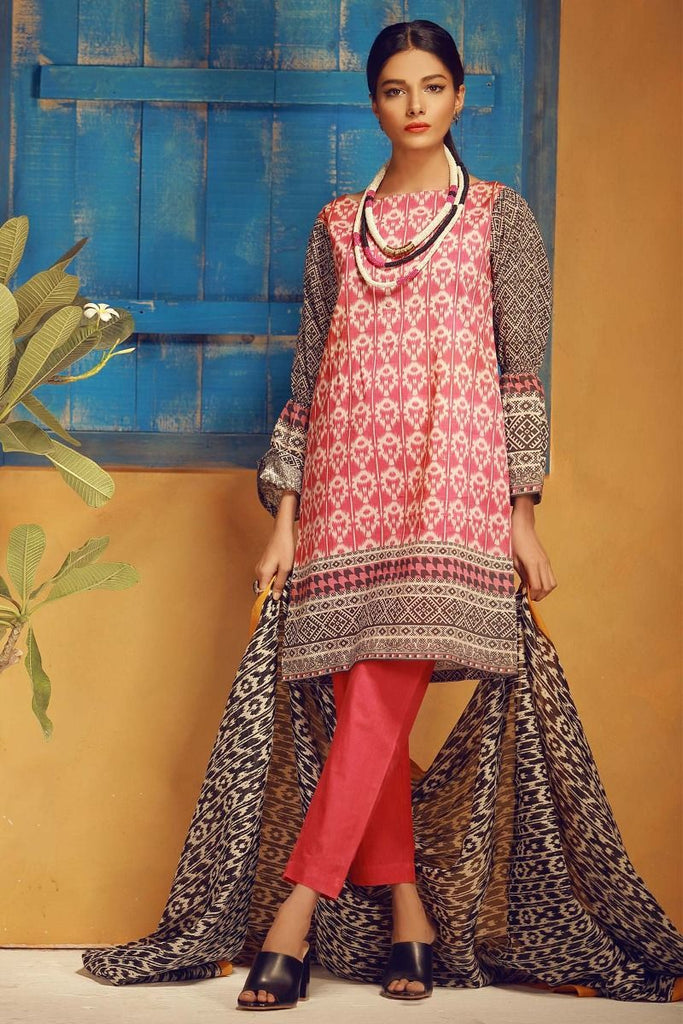 Khaadi Tropical Escape Lawn Collection 2018 – A18116 Red 3Pc