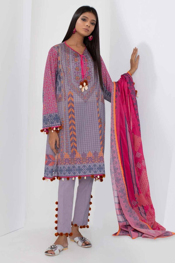 ff69a6e138 Khaadi Mid Summer Lawn Collection 2018 – A18301 Grey 3Pc – YourLibaas
