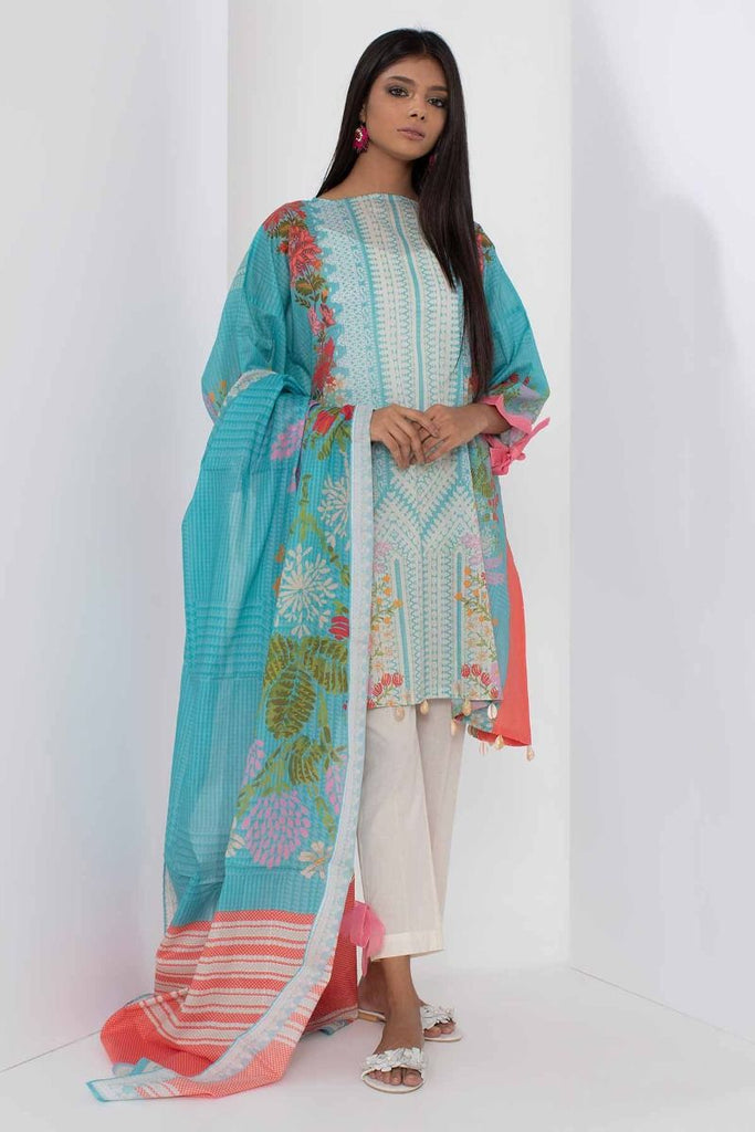 Khaadi Mid Summer Lawn Collection 2018 – A18302 Turquoise 3Pc