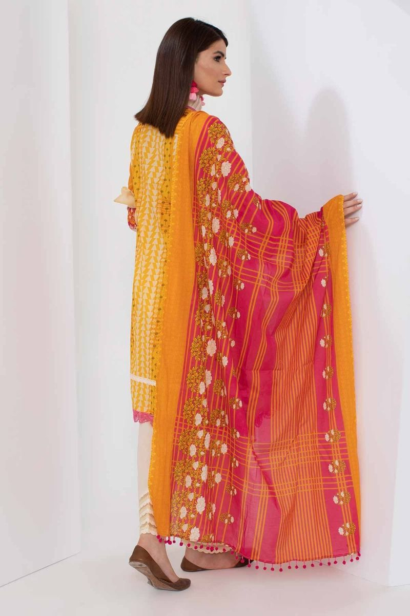 b2275ccd68 Khaadi Mid Summer Lawn Collection 2018 – A18306 Yellow 3Pc – YourLibaas