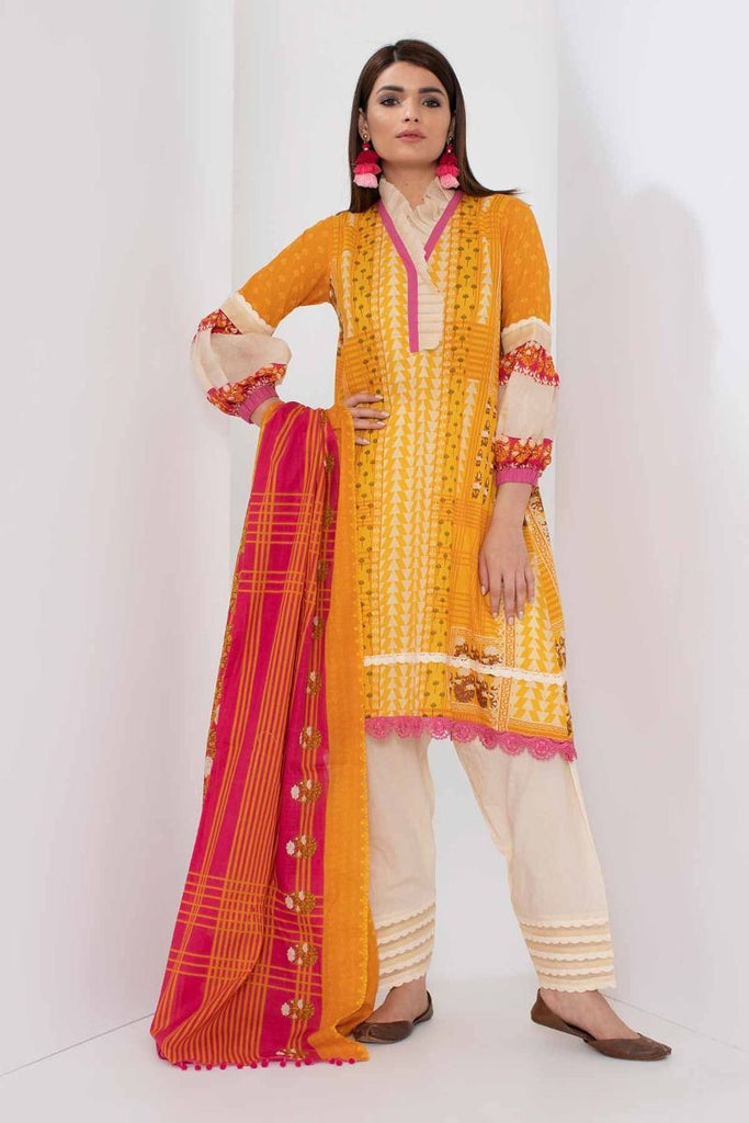 Khaadi Mid Summer Lawn Collection 2018 – A18306 Yellow 3Pc