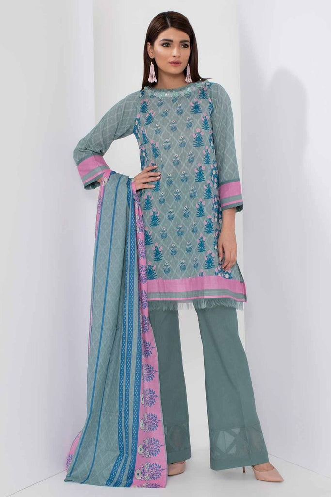 Khaadi Mid Summer Lawn Collection 2018 – A18307 Blue 3Pc