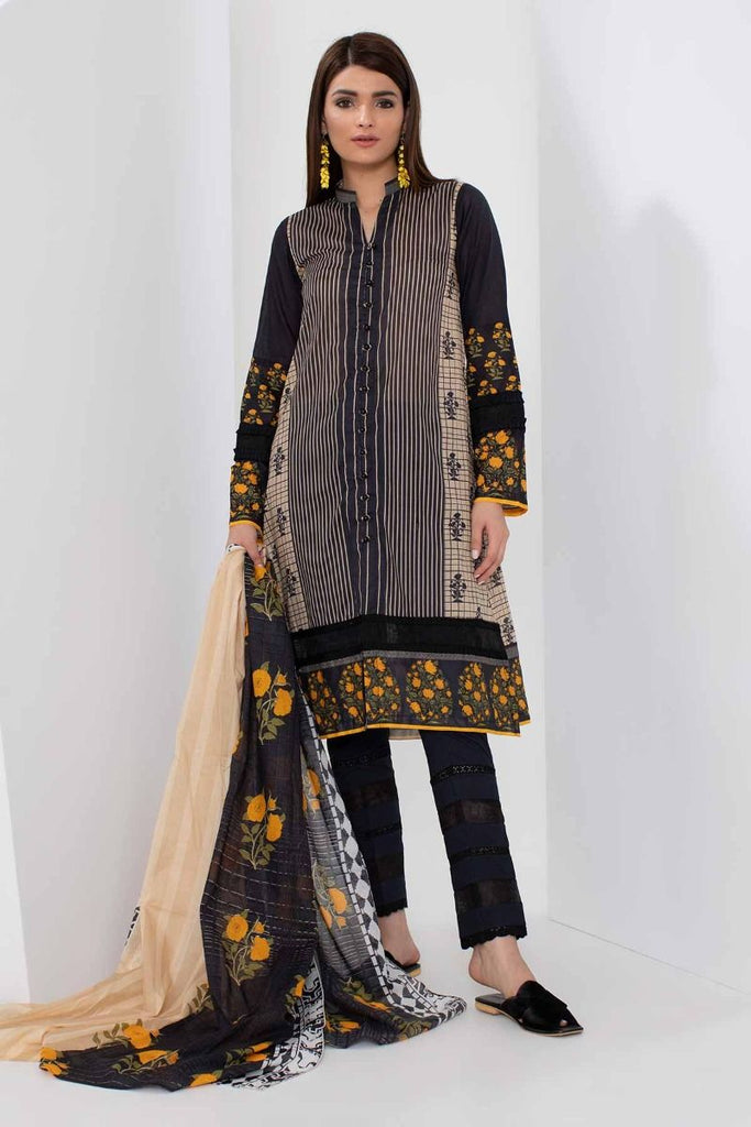 Khaadi Mid Summer Lawn Collection 2018 – A18308 Black 3Pc