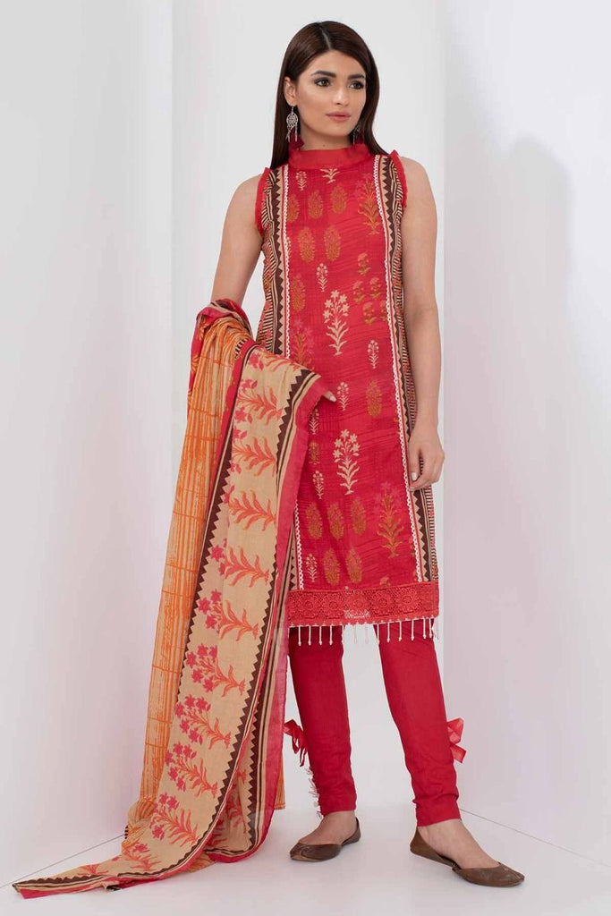 Khaadi Mid Summer Lawn Collection 2018 – A18309 Red 3Pc