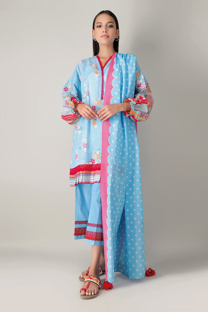 Khaadi Spring Collection 2021 – 3PC Suit · Printed Suit · A21107 Blue