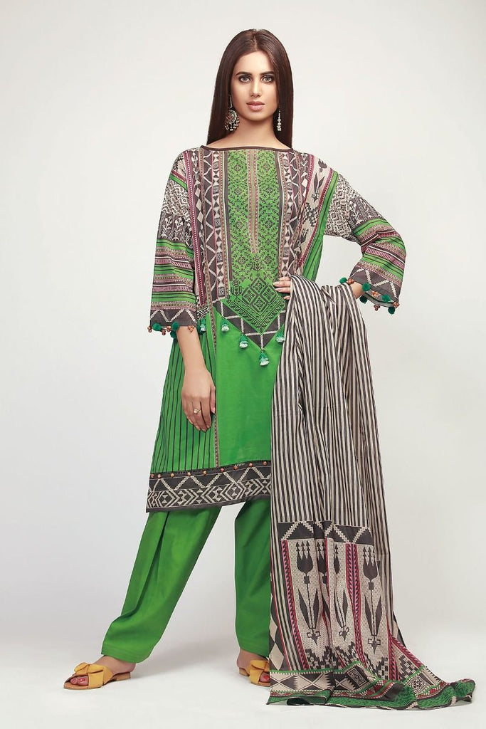 Khaadi The Tale of Spring Lawn Collection 2019 – AF19107 Green 3Pc