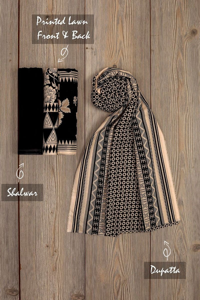 Khaadi Mid-Summer Vibes Lawn Collection 2018 – AR18302 Black 3Pc