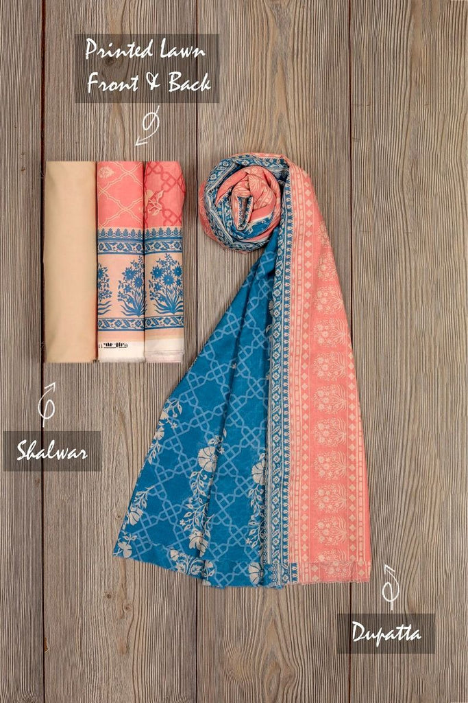 Khaadi Mid-Summer Vibes Lawn Collection 2018 – AR18311 Pink 3Pc
