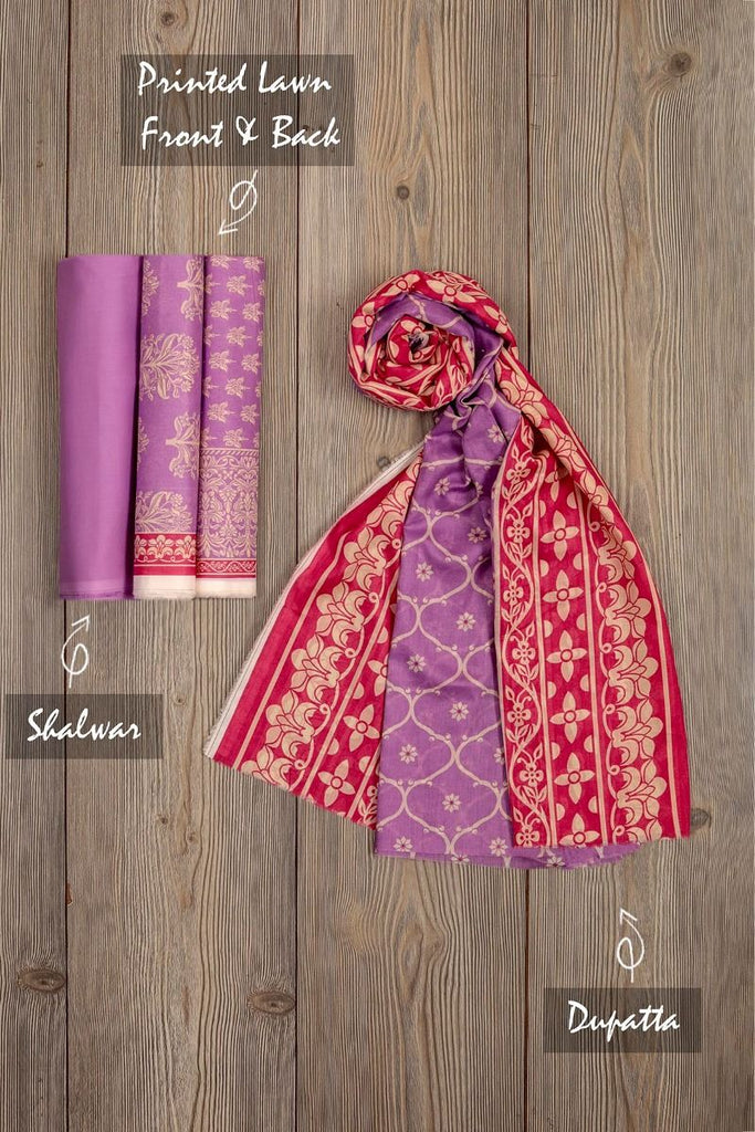 Khaadi Mid-Summer Vibes Lawn Collection 2018 – AR18316 Purple 3Pc