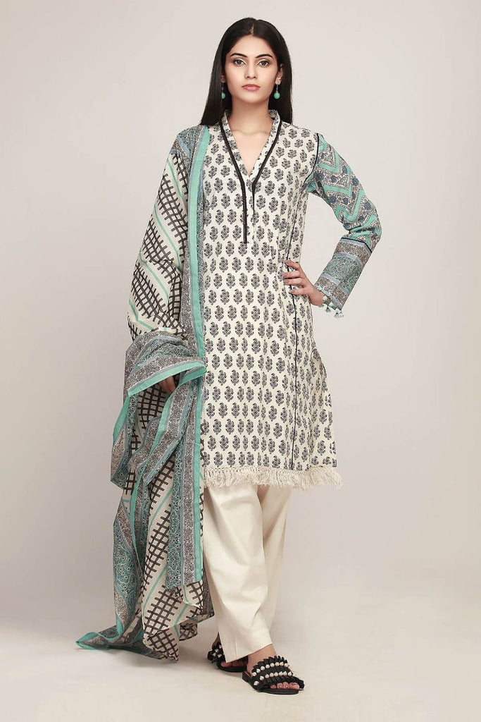 Khaadi Early Spring/Summer Lawn Collection 2019 V2 – AR19129 Beige 3Pc