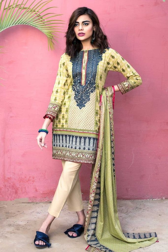 Khaadi Tropical Escape Lawn Collection 2018 – B18101 Beige 3Pc
