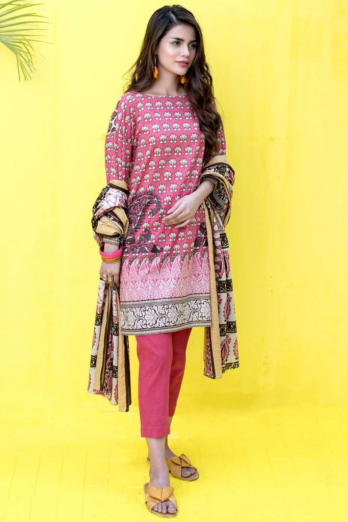 Khaadi Tropical Escape Lawn Collection 2018 – B18102 Pink 3Pc