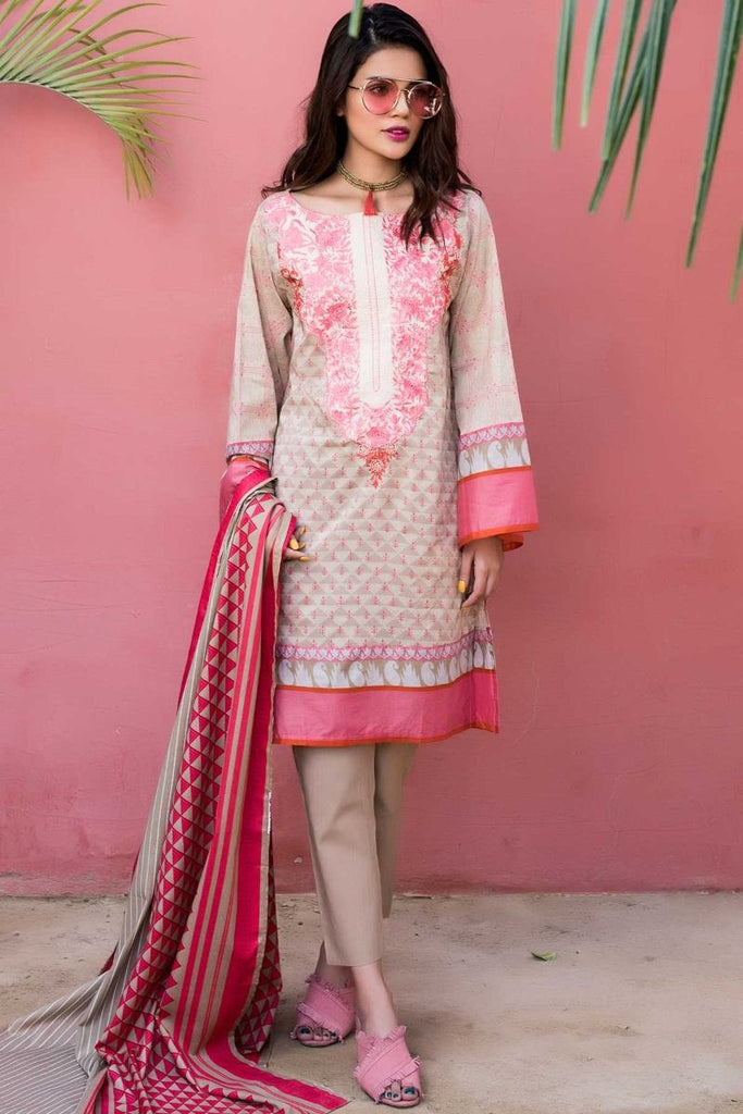 Khaadi Tropical Escape Lawn Collection 2018 – B18105 Beige 3Pc