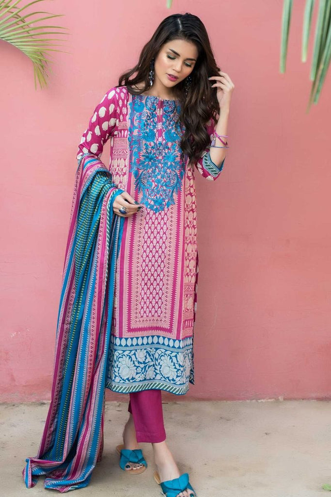 Khaadi Tropical Escape Lawn Collection 2018 – B18106 Pink 3Pc