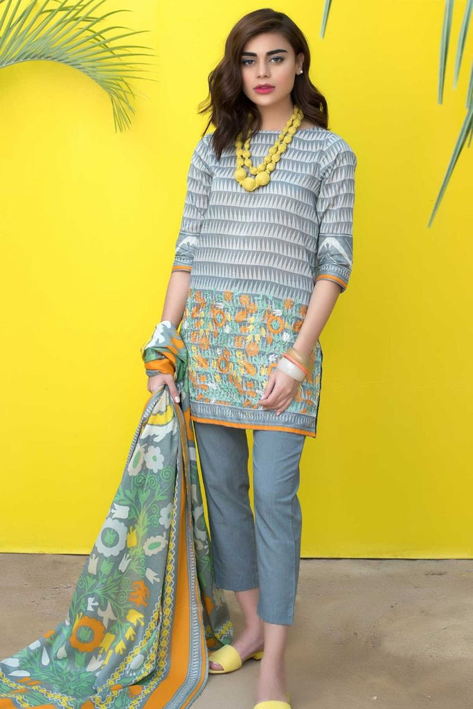 Khaadi Tropical Escape Lawn Collection 2018 – B18111 Grey 3Pc
