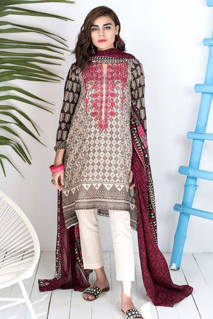 Khaadi Tropical Escape Lawn Collection 2018 – B18112 Brown 3Pc