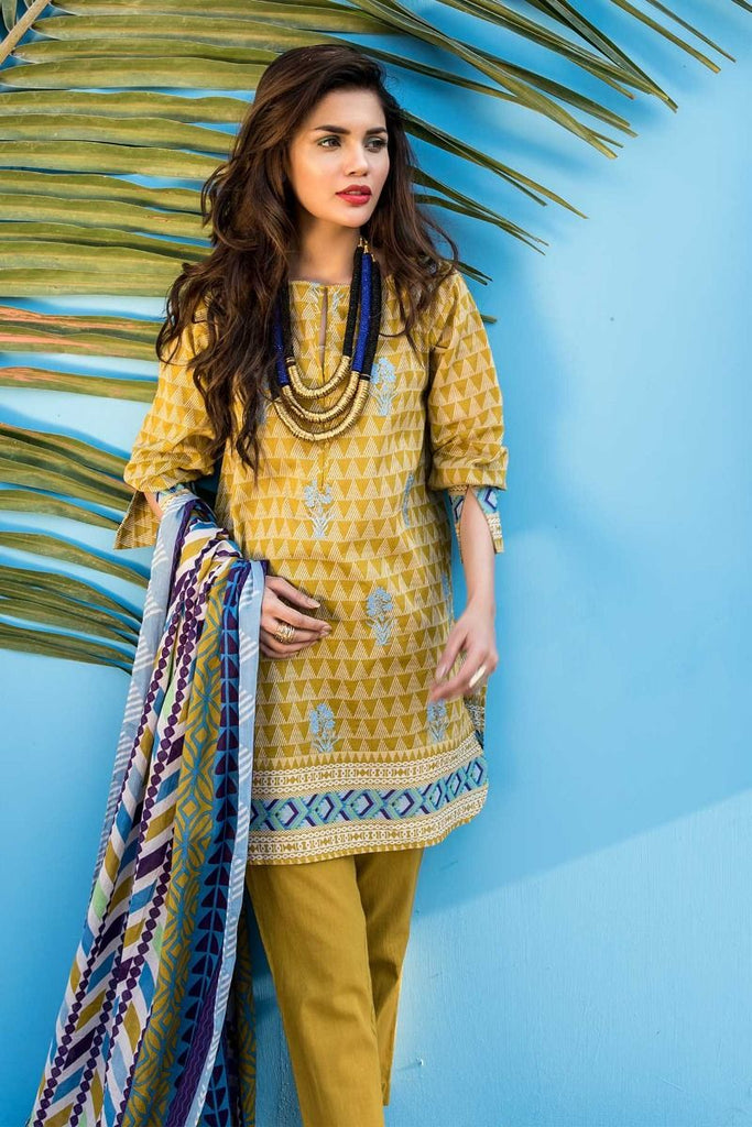 Khaadi Tropical Escape Lawn Collection 2018 – B18116 Green 3Pc
