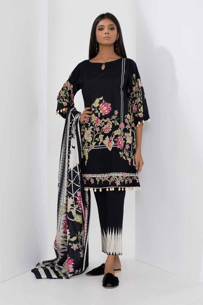 Khaadi Mid Summer Lawn Collection 2018 – B18303 Black 3Pc