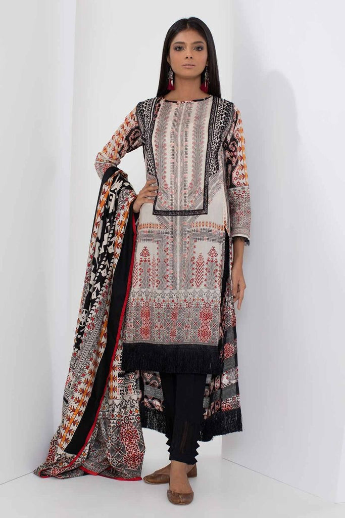 Khaadi Mid Summer Lawn Collection 2018 – B18307 Black 3Pc