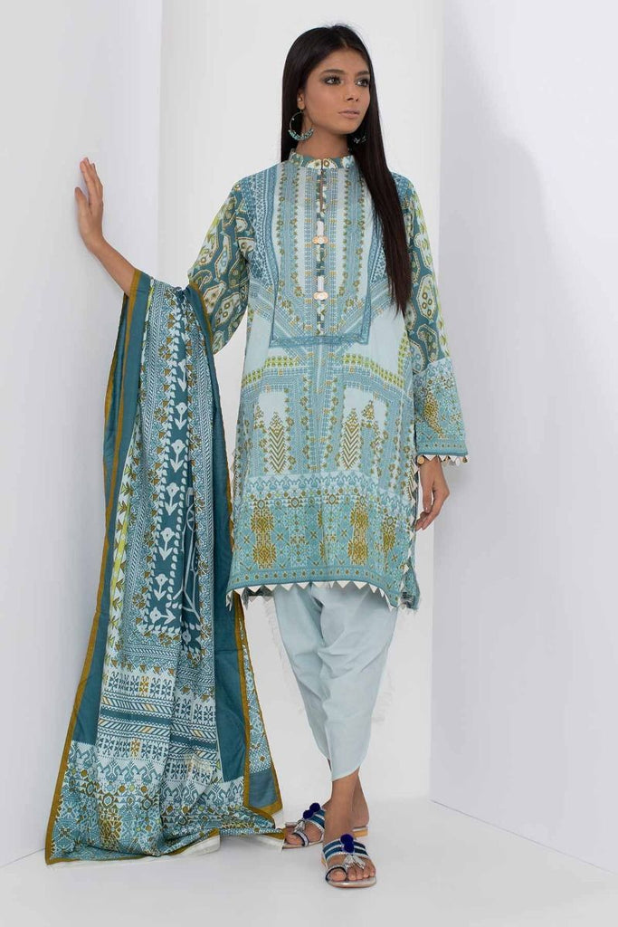 Khaadi Mid Summer Lawn Collection 2018 – B18307 Blue 3Pc