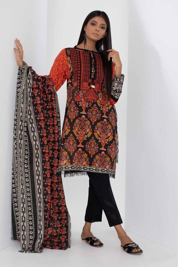 Khaadi Mid Summer Lawn Collection 2018 – B18308 Black 3Pc