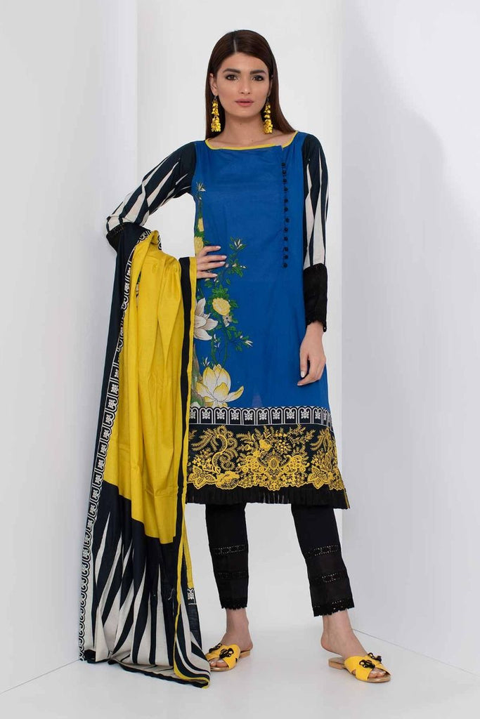 Khaadi Mid Summer Lawn Collection 2018 – B18309 Blue 3Pc