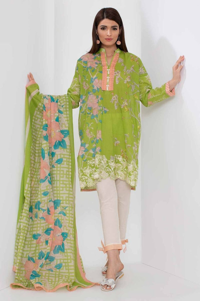 Khaadi Mid Summer Lawn Collection 2018 – B18310 Green 3Pc