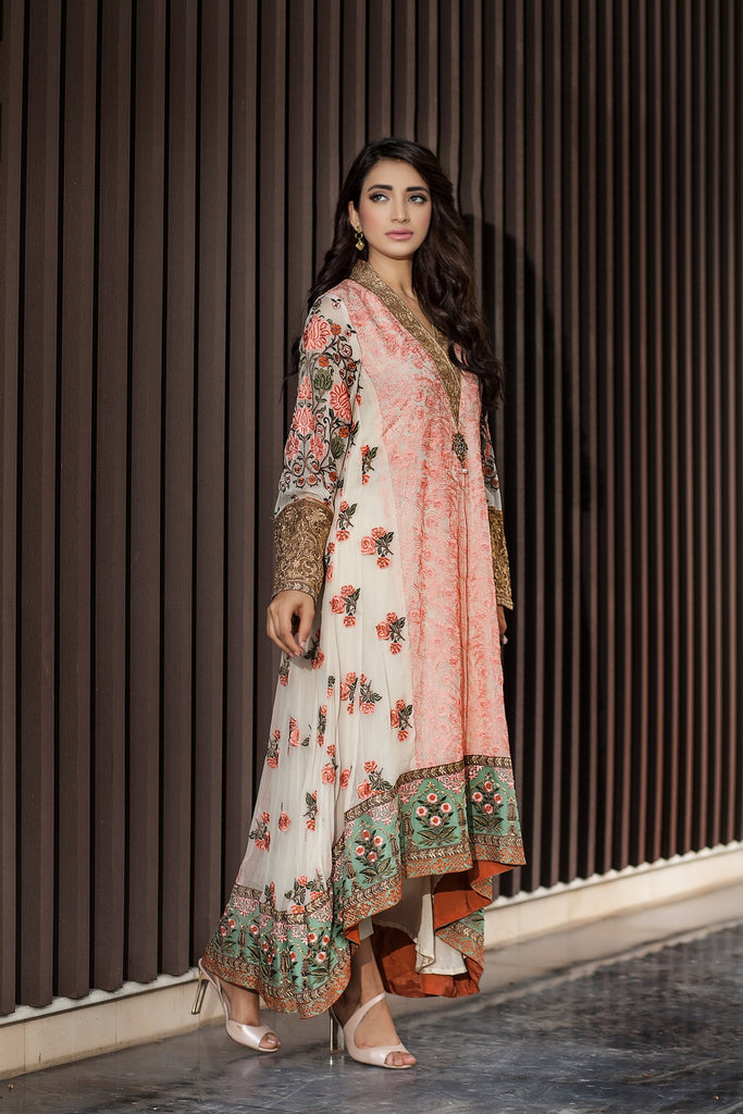 Baroque Luxury Chiffon Embroidered Collection Vol 1 – Ivory and Pink - YourLibaas  - 1