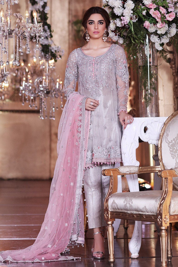 MARIA.B MBROIDERED Luxury Eid Collection 2017 – Moonlight Grey & Peach (BD-1005)