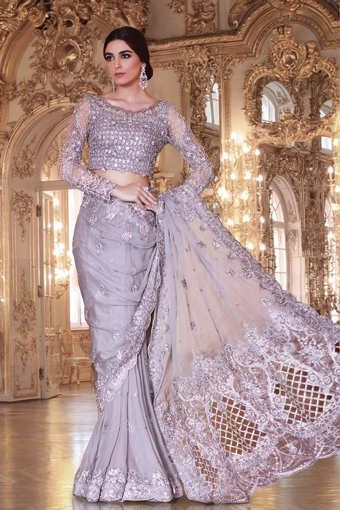 MARIA.B MBROIDERED Luxury Eid Collection 2017 – Silver Grey (BD-1006)