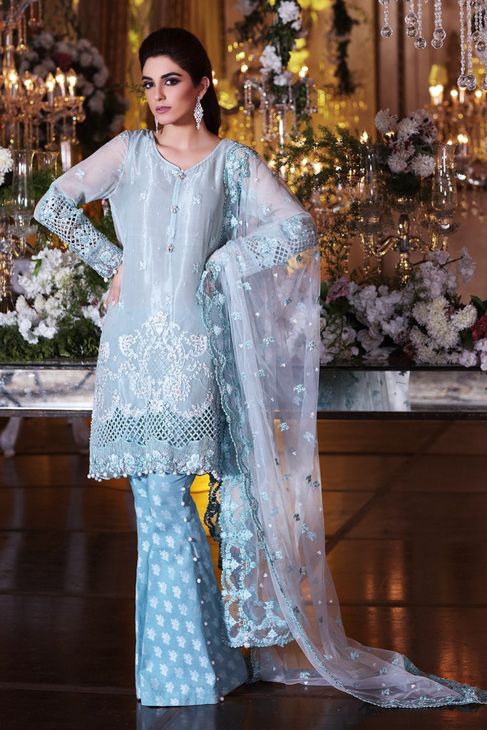 MARIA.B MBROIDERED Luxury Eid Collection 2017 – Sea Blue (BD-1007)