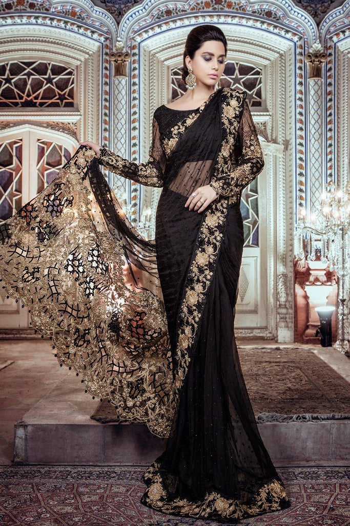 MARIA.B MBROIDERED Luxury Eid Collection 2017 Vol-2 – Black & Antique Gold (BD-1101)