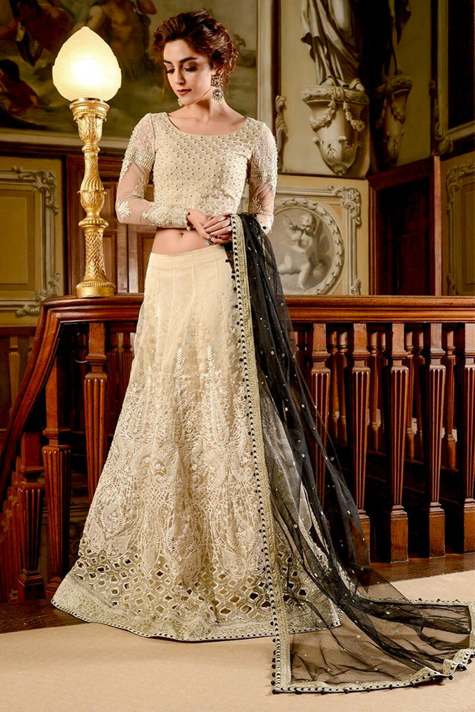 ad4e138121 MARIA.B MBROIDERED Wedding Edition 2017 – Cream & Black (BD-1201) –  Pakistani Wedding Suits – YourLibaas