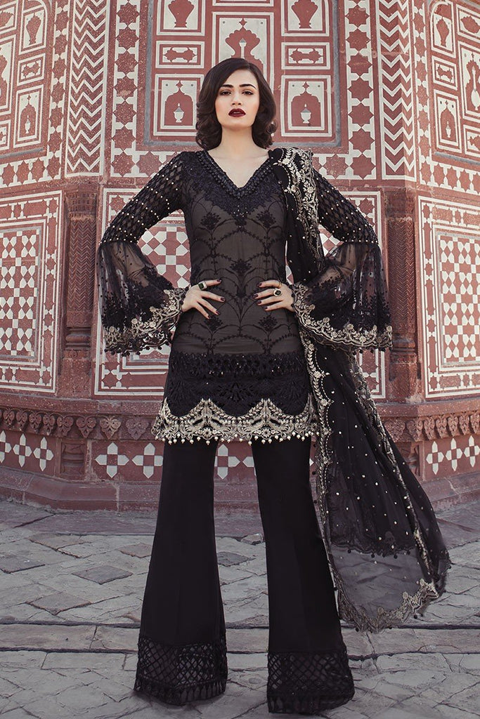 MARIA.B. MBROIDERED Luxury Eid Collection 2018 Vol-1 – Black & Ivory (BD-1302)