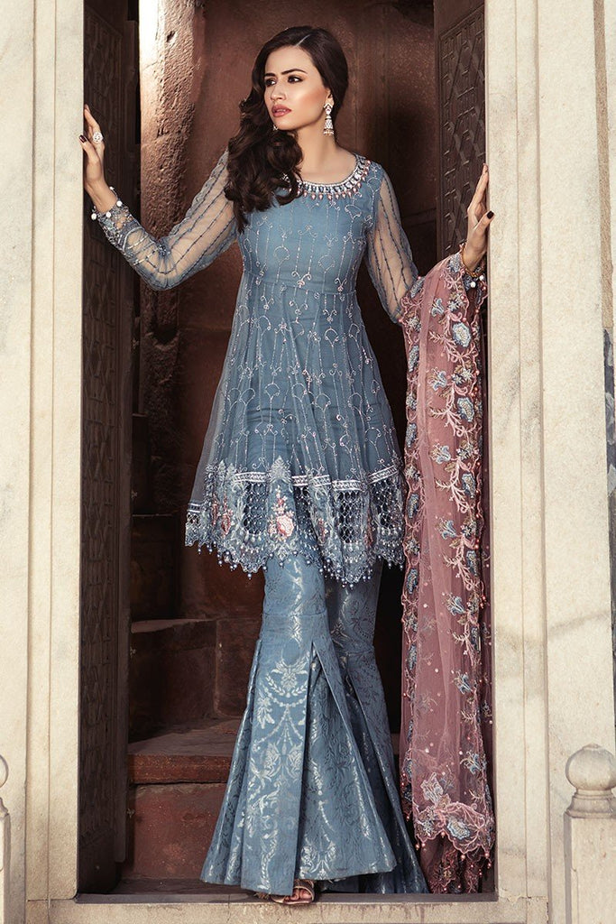 MARIA.B. MBROIDERED Luxury Eid Collection 2018 Vol-1 – Cerulean Blue (BD-1304)