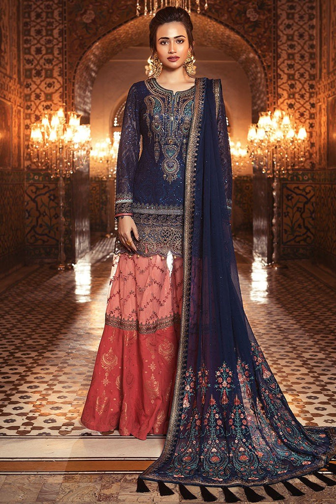 MARIA.B. MBROIDERED Luxury Eid Collection 2018 Vol-1 – Sapphire Blue & Coral (BD-1308)