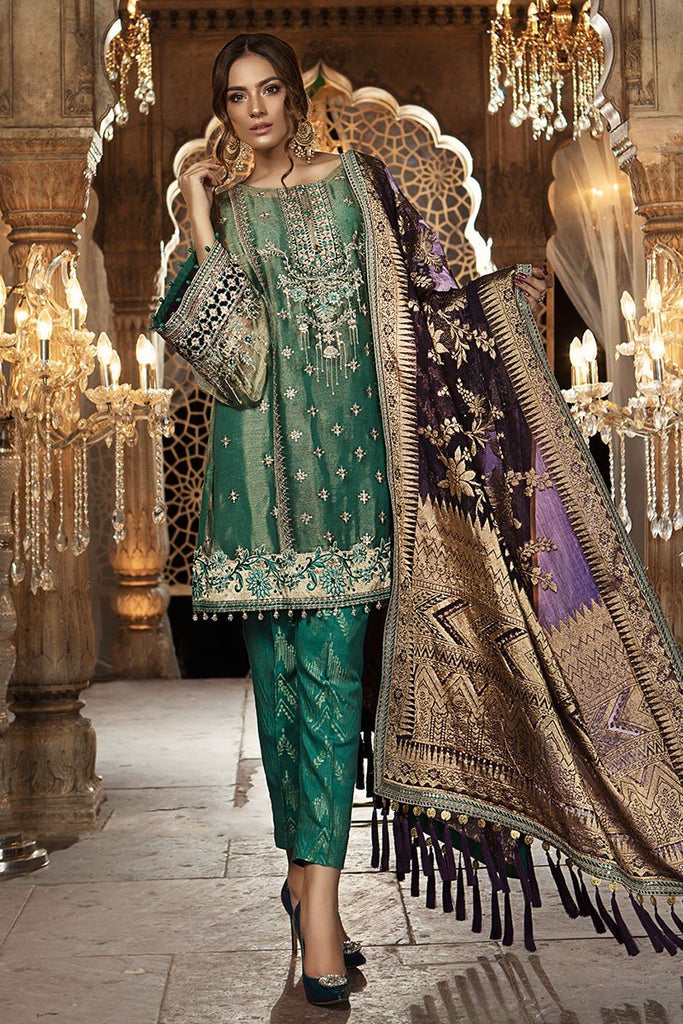 MARIA.B MBROIDERED Eid Collection 2018 Vol. 2 – Teal & Aubergine (BD-1402)