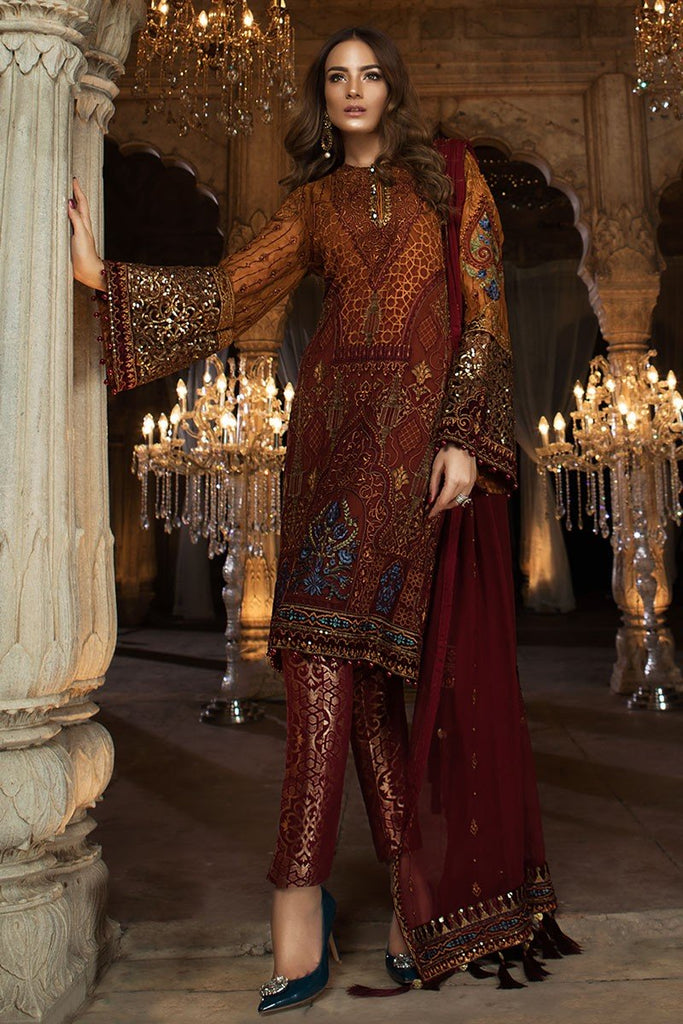 MARIA.B MBROIDERED Eid Collection 2018 Vol. 2 – Rust & Maroon (BD-1407)