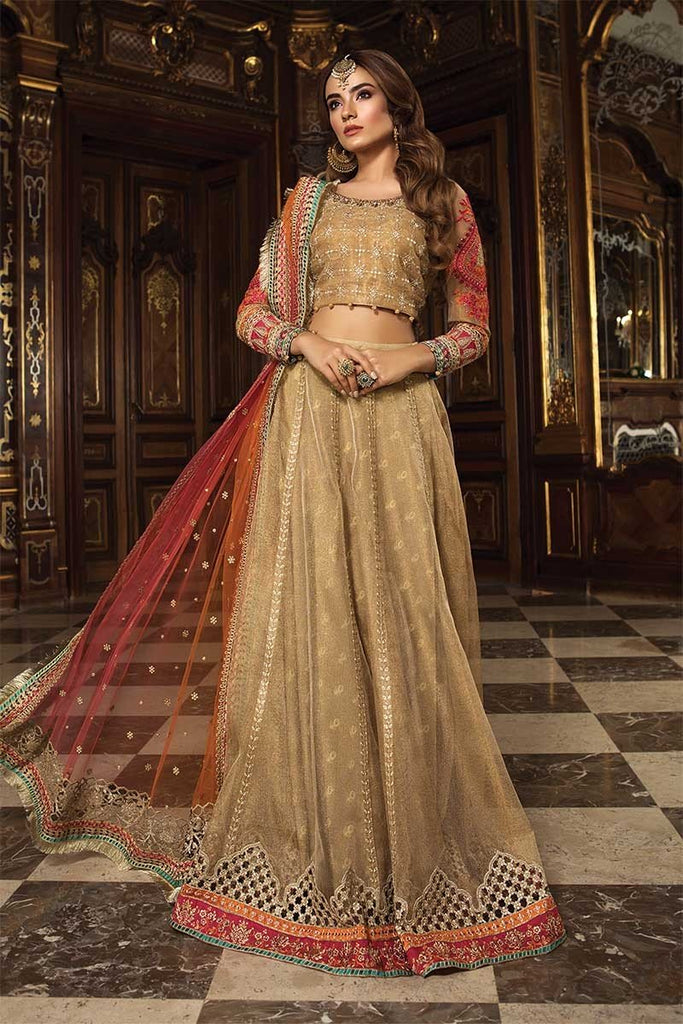 MARIA.B. Mbroidered Wedding Edition 2018 – Gold & Coral (BD-1505)