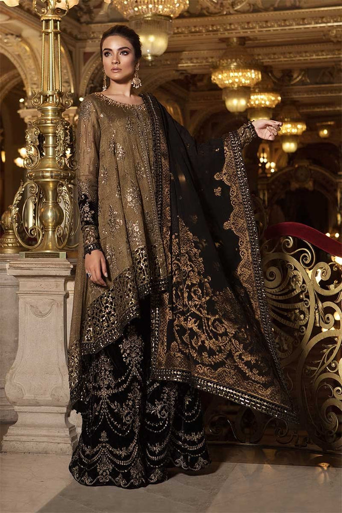 MARIA.B. Mbroidered Wedding Edition 2018 – Oxidized Gold & Black (BD-1508)