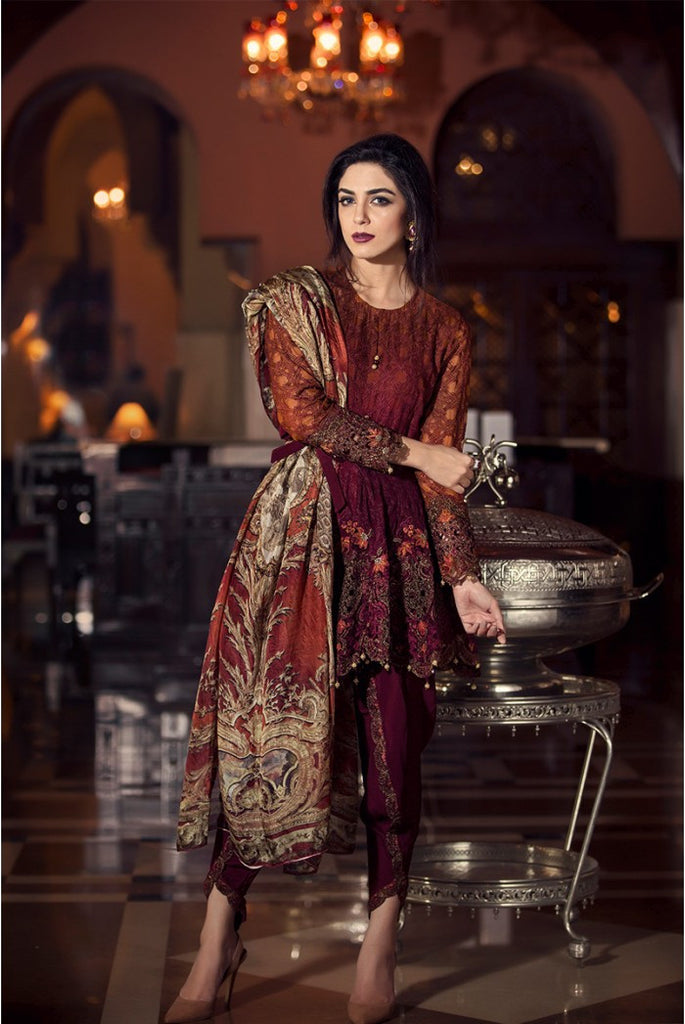 Maria.B Mbroidered Collection 2016 – Maroon BD-704 - YourLibaas