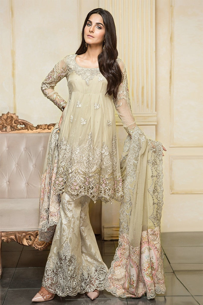 MARIA.B MBROIDERED Luxury Eid Collection 2017 Vol-2 – Beige & Tea Pink (BD-1102)