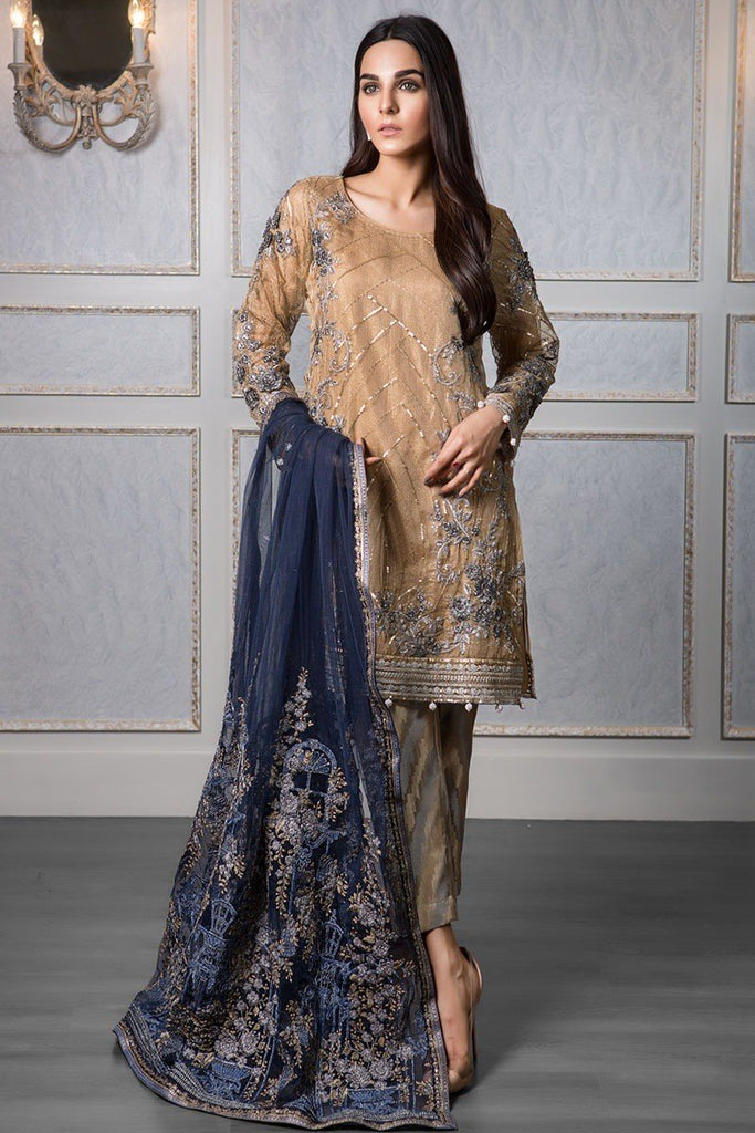 454e54f754 MARIA.B MBROIDERED Wedding Edition 2017 – Gold & Navy (BD-1208) – Pakistani  Wedding Suits – YourLibaas