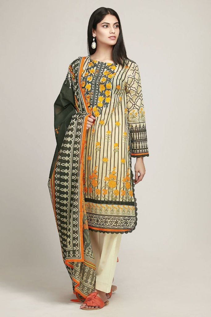 Khaadi Early Spring/Summer Lawn Collection 2019 – BF19101 Beige 3Pc