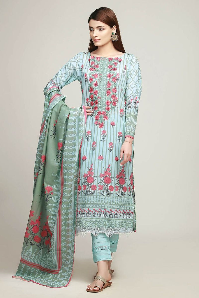 Khaadi Early Spring/Summer Lawn Collection 2019 – BF19101 Blue 3Pc