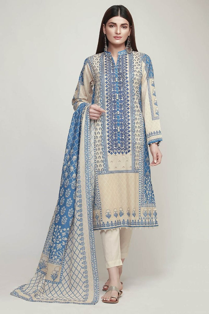 Khaadi Early Spring/Summer Lawn Collection 2019 – BF19102 Blue 3Pc