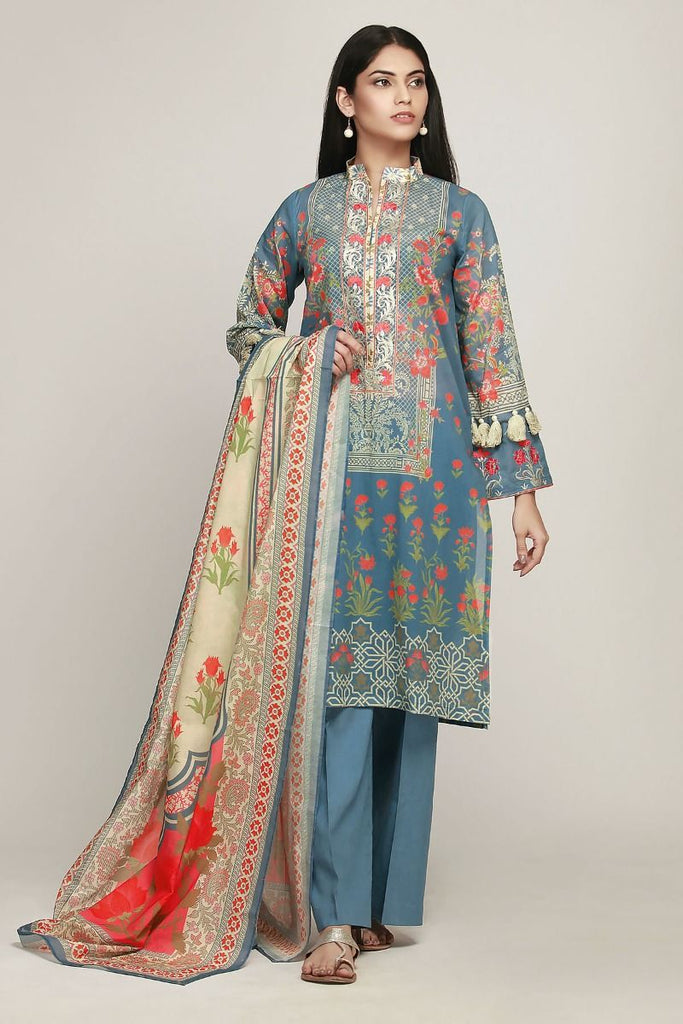 Khaadi Early Spring/Summer Lawn Collection 2019 – BF19110 Blue 3Pc