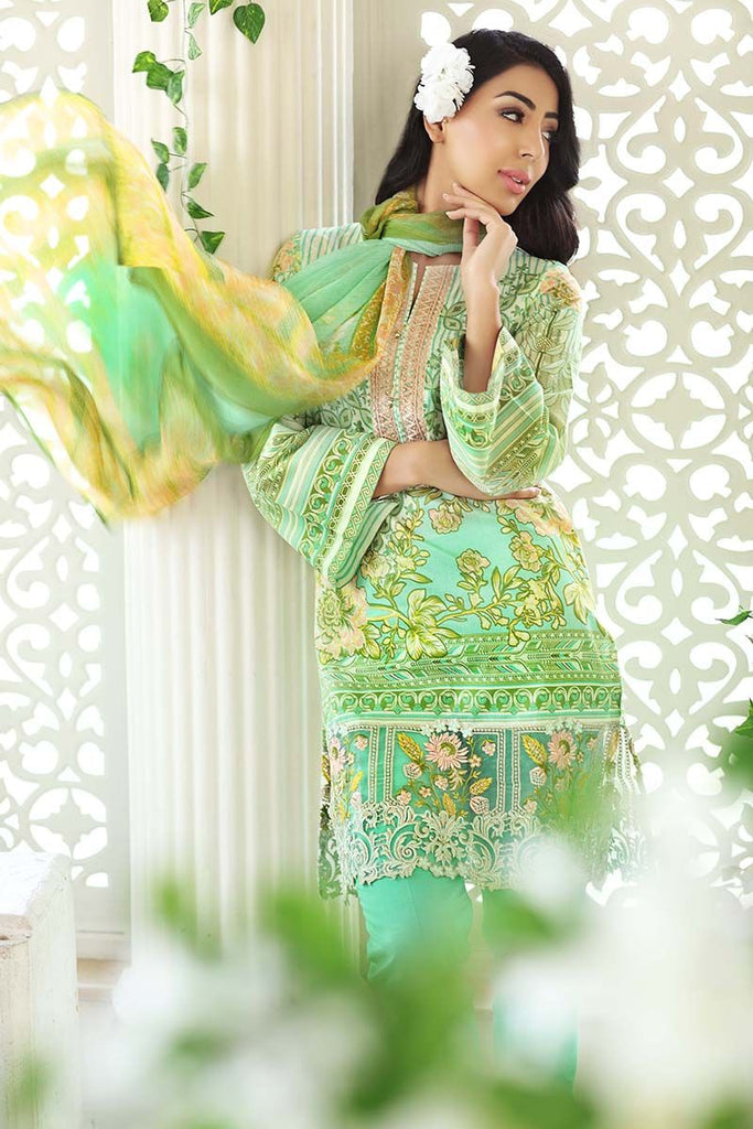 Gul Ahmed Summer Premium Collection 2018 – Mint Green 3 Pc Blended Chiffon Embroidered BM-47